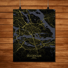 Load image into Gallery viewer, Mapospheres stockholm Night full page design poster city map