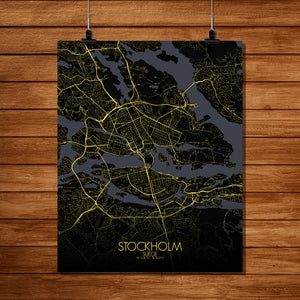 Mapospheres stockholm Night full page design poster city map