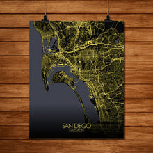 Load image into Gallery viewer, Mapospheres San Diego Night full page design poster city map