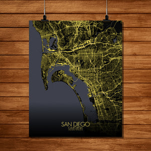 Mapospheres San Diego Night full page design poster city map