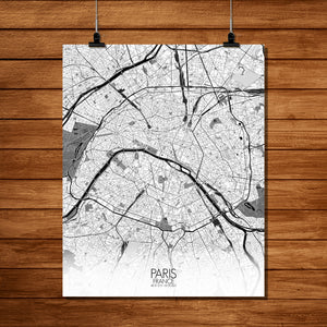 Mapospheres Paris Black and White full page design poster city map