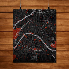 Load image into Gallery viewer, Mapospheres Paris Red dark full page design poster city map