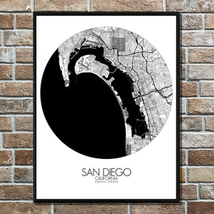 Mapospheres San Diego Black and White round shape design poster city map