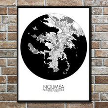 Load image into Gallery viewer, Mapospheres Noumea Black and White round shape design poster city map
