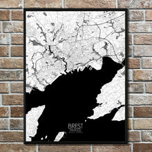 Load image into Gallery viewer, Mapospheres Brest Black and White full page design poster city map