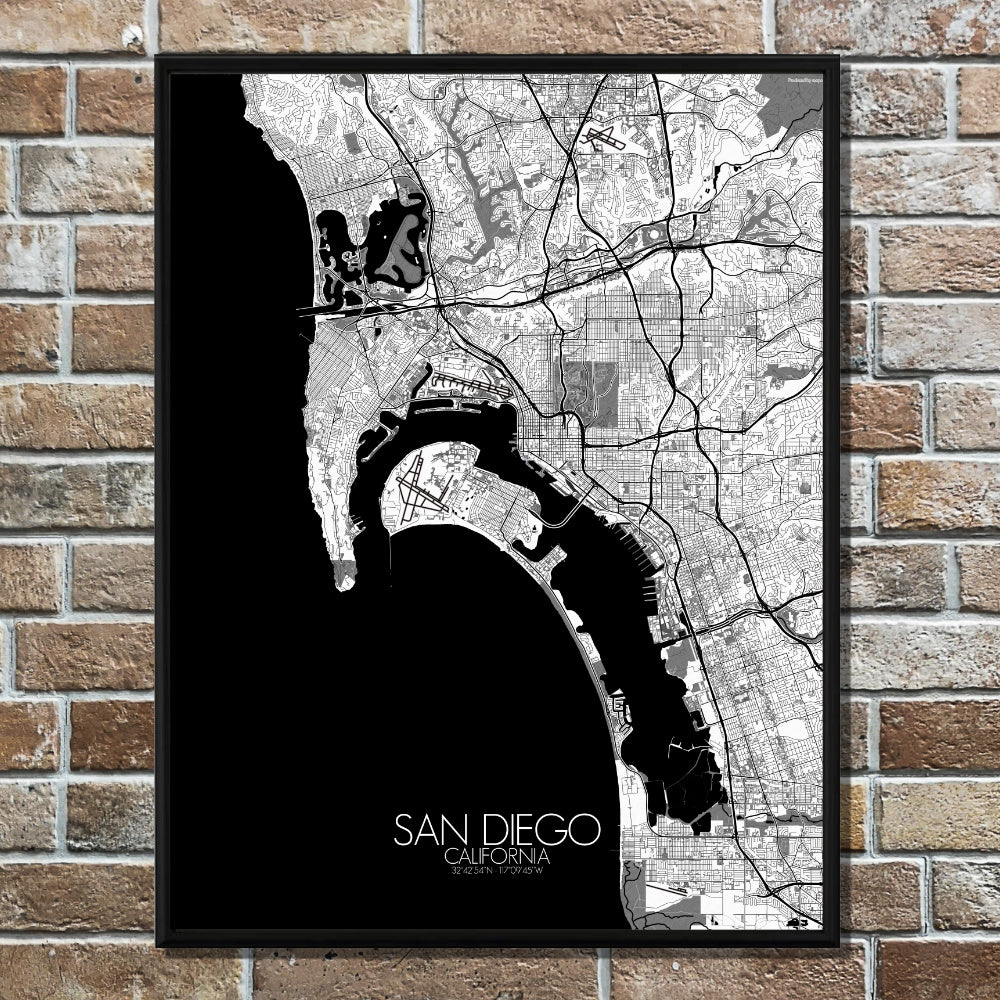 San Diego California Large City Map Print Custom Poster Wall Art Mapospheres Eu