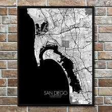 Load image into Gallery viewer, Mapospheres San Diego Black and White full page design poster city map