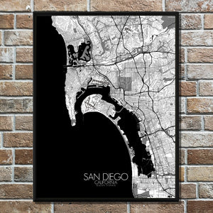 Mapospheres San Diego Black and White full page design poster city map