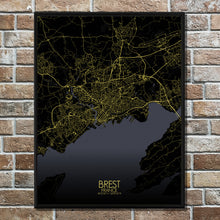 Load image into Gallery viewer, Mapospheres Brest Night full page design poster city map