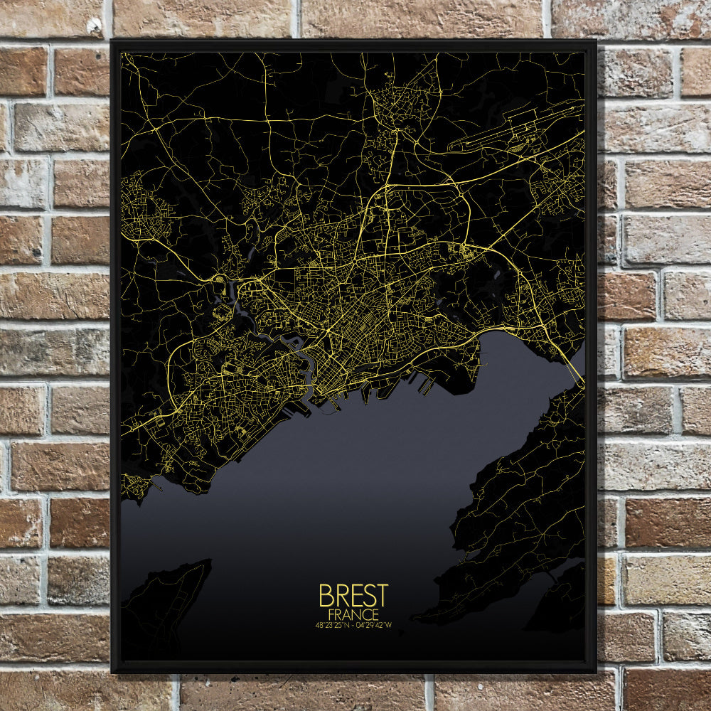 Mapospheres Brest Night full page design poster city map