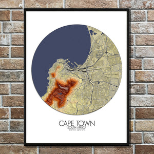 Mapospheres Cape Town Elevation map round shape design poster city map