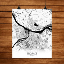Load image into Gallery viewer, Mapospheres Belgrade Black and White full page design poster city map