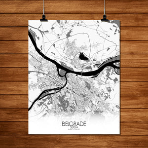 Mapospheres Belgrade Black and White full page design poster city map