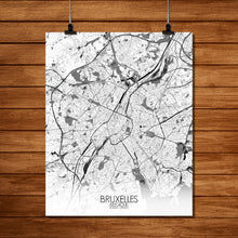 Load image into Gallery viewer, Mapospheres Brussels Black and White full page design poster city map