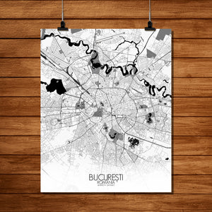 Mapospheres Bucharest Black and White full page design poster city map