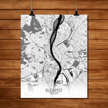 Load image into Gallery viewer, Mapospheres budapest Black and White full page design poster city map