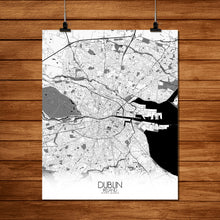 Load image into Gallery viewer, Mapospheres Dublin Black and White full page design poster city map