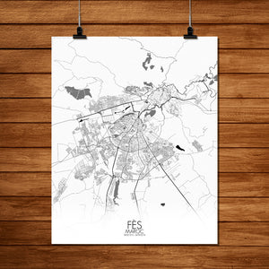 Mapospheres fez Black and White full page design poster city map