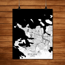 Load image into Gallery viewer, Mapospheres reykjavik Black and White full page design poster city map