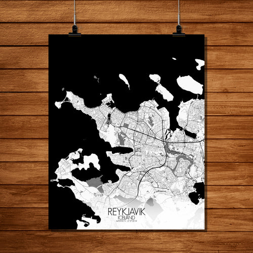 Mapospheres reykjavik Black and White full page design poster city map