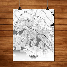 Load image into Gallery viewer, Mapospheres sofia Black and White full page design poster city map