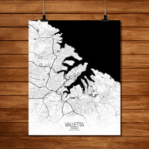Mapospheres valletta Black and White full page design poster city map