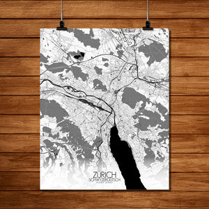 Mapospheres zurich Black and White full page design poster city map