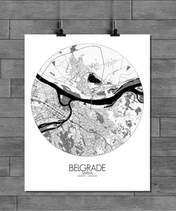 Mapospheres Belgrade Black and White round shape design poster city map
