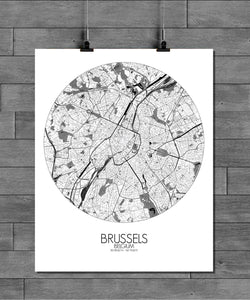 Mapospheres Brussels Black and White round shape design poster city map