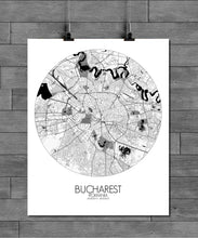 Load image into Gallery viewer, Mapospheres Bucharest Black and White round shape design poster city map