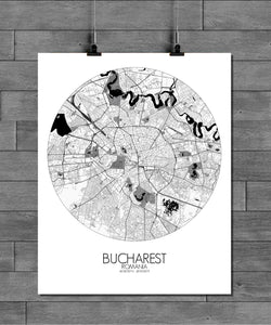Mapospheres Bucharest Black and White round shape design poster city map