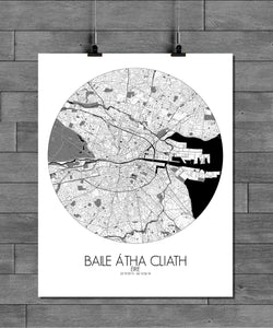 Mapospheres Dublin Black and White round shape design poster city map