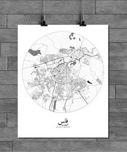 Mapospheres fez Black and White round shape design poster city map