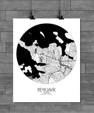 Load image into Gallery viewer, Mapospheres reykjavik Black and White round shape design poster city map