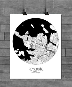 Mapospheres reykjavik Black and White round shape design poster city map