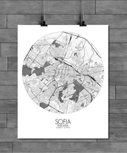Load image into Gallery viewer, Mapospheres sofia Black and White round shape design poster city map