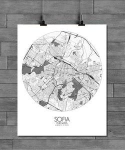 Mapospheres sofia Black and White round shape design poster city map