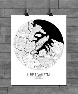 Mapospheres valletta Black and White round shape design poster city map