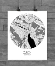 Load image into Gallery viewer, Mapospheres zurich Black and White round shape design poster city map