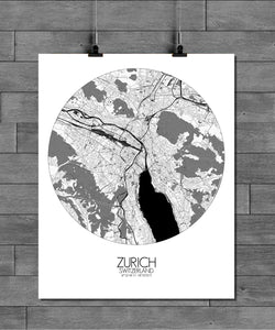 Mapospheres zurich Black and White round shape design poster city map