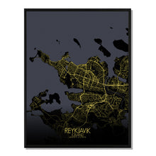 Load image into Gallery viewer, Mapospheres reykjavik Night full page design poster city map
