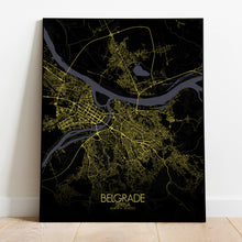 Load image into Gallery viewer, Mapospheres Belgrade Night full page design poster city map