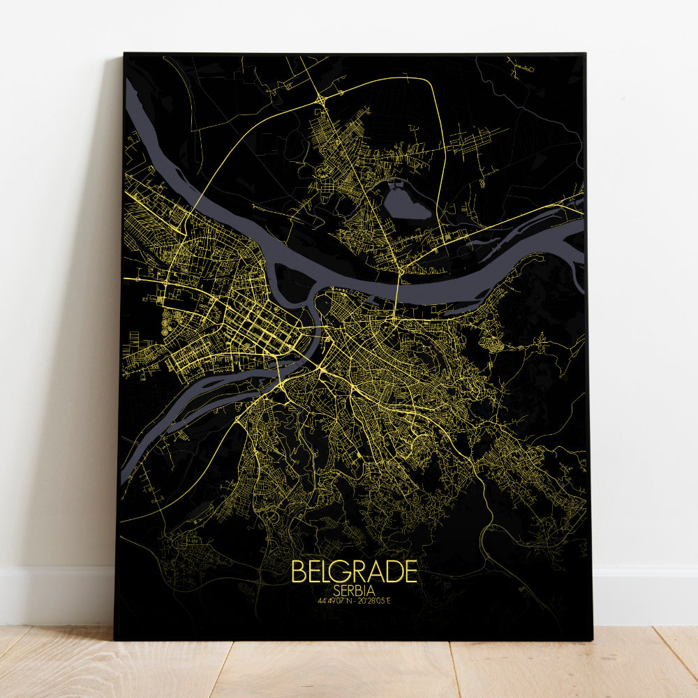 Mapospheres Belgrade Night full page design poster city map