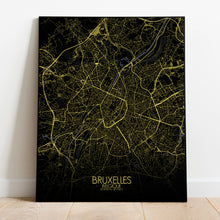 Load image into Gallery viewer, Mapospheres Brussels Night full page design poster city map