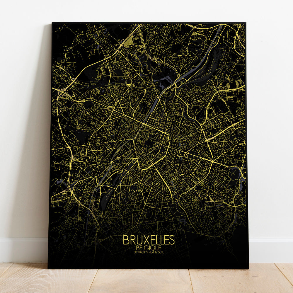 Mapospheres Brussels Night full page design poster city map
