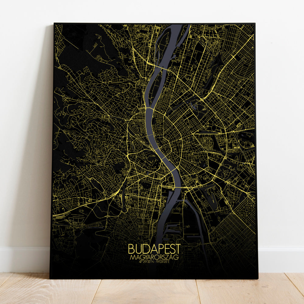 Mapospheres budapest Night full page design poster city map