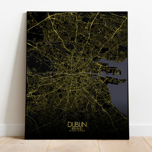 Mapospheres Dublin Night full page design poster city map