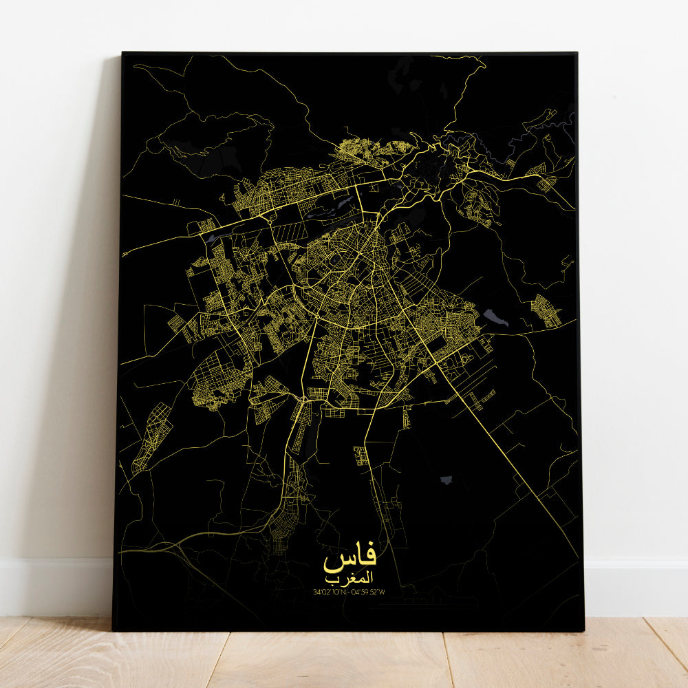 Mapospheres fez Night full page design poster city map