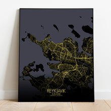 Load image into Gallery viewer, Mapospheres reykjavik Night round shape design poster city map