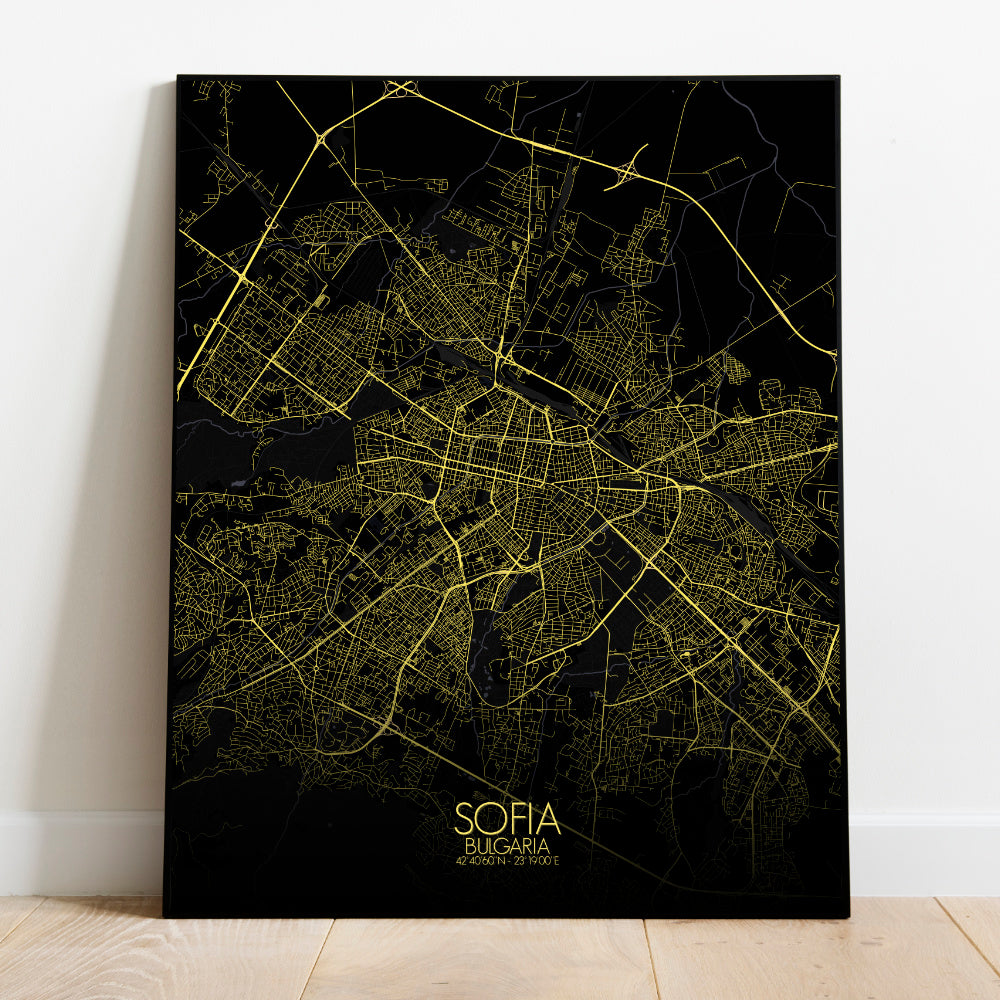 Mapospheres sofia Night full page design poster city map